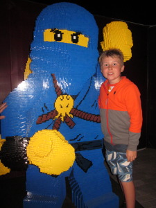 Liam with a huge Lego guy